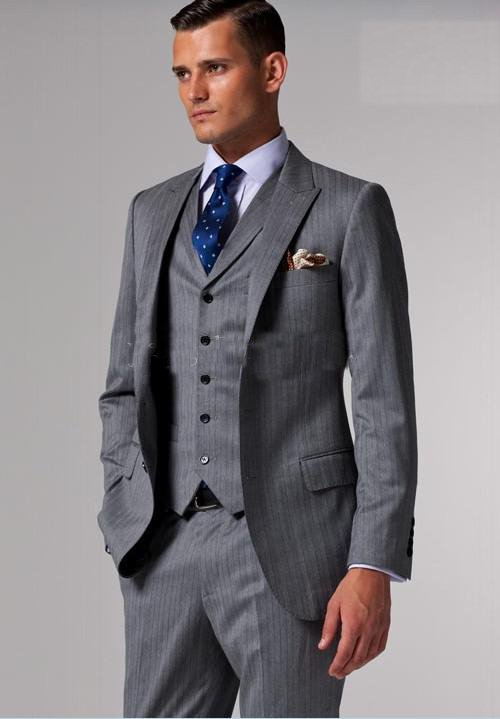 EGARA Grey VESTED EXTREME SLIM FIT SUIT